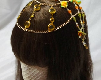 Dawn Colored Roses Beaded Headpeice