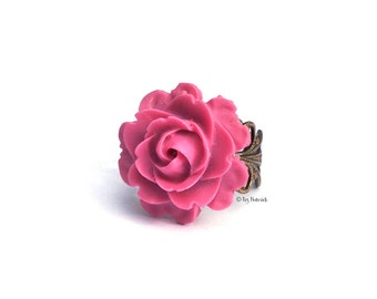 Magenta Rose Ring. Resin Flower Cocktail Ring, Adjustable Brass Filigree. Bohemian Jewelry. Valentine's Day