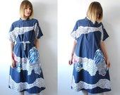 70s 80s pure cotton MARIMEKKO dress. abstract print dress. tent dress with belt. oversized midi dress - one size