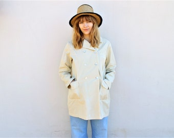 90s trench coat cream cotton jacket