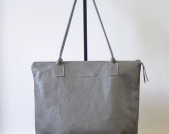 RESERVED FOR NICI - Nana charcoal grey pebbled leather large dart tote