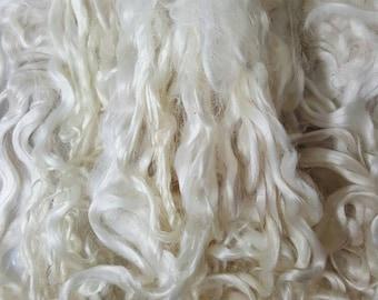 """Suri Alpaca Locks, White 6-7""""  Locks, Washed Suri Locks, Washed Long Locks, Doll Hair, White Long Locks"""