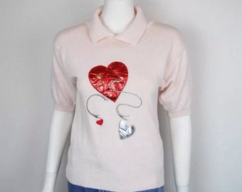 VTG 80s Heart Applique Sweater Knit Grunge Clip Art Weird Raver Clubkid Valentine Shiny Foil Pastel Pink Silver Avant Garde