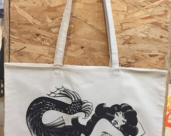 Retro Mermaid Cotton canvas Tote Bag Made in USA