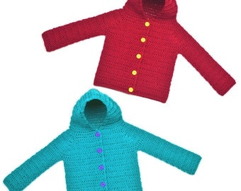 Hooded Children Cardigan Sweater - 8 Sizes - PDF Crochet Pattern - Instant Download