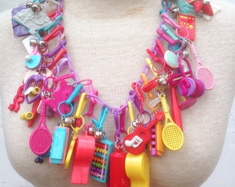 Rad 80's CHARM Necklace / Authentic Rainbow CHARM NECKLACE with Fun 80's Flair // Charms Galore! / RAINBow Toy Necklace