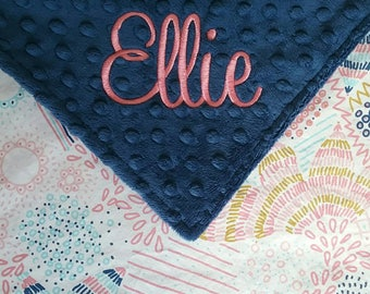 Personalized Monogrammed Baby Blanket Colorful Vintage Inspired Navy Blue Pink Coral Gold Minky Baby Girl 28x30