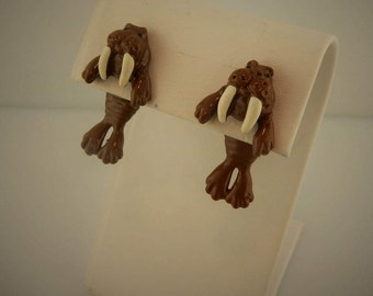Vintage 3D hand painted Walrus earrings, EARlusion brand