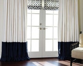 Pleated Colorblock Linen drapes, two fold French pleats, color block lined pleated drapes, white, off white, navy, all colors