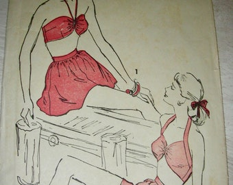 SALE Swimsuit Pattern *  1940's Advance  Pattern 4563 ** Bombshell Pinup Playsuit Bathing Suit, Panties & Skirt ** Size 12, bust 30