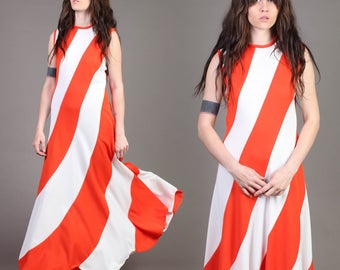 vintage SCALLOPED HEM colorblock STRIPED red mod space age party maxi dress 1960s 1970s 60s 70s medium large M L