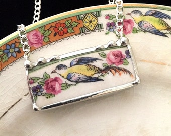 Recycled china necklace. ecofriendly jewelry, broken china jewelry necklace antique bird of paradise pink roses