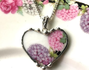 Broken china jewelry heart pendant necklace antique pink hydrangea and purple hydrangea chintz porcelain