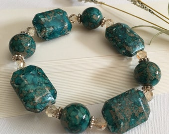 Bracelet-Synthetic Acrylic Mosaic Turquoise-Stretch Cord-Chunky-Bold Statement-Golden Shadow Crystals-Sterling Silver-Slip Over the Hand
