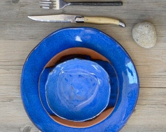 Terracotta and Blue dinner set - ceramic plates - Provence - wedding gifts modern dish sets