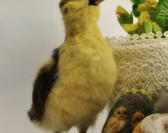 Needle Felted Bird Yellow Easter Duckling , Ester ducking. Ester collection 2017 by Daria Lvovsky