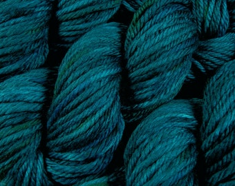 Hand Dyed Bulky Yarn - Bulky Weight Superwash Merino Wool Yarn - Deep Sea Tonal - Thick Chunky Knitting Yarn, Blue Green Turquoise