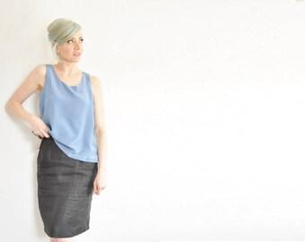 matte black linen skirt . high waist knee length pencil skirt .medium .sale s a l e