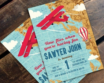 Time Flies When - Airplane Birthday Invitation - Aviator Party Invite, Map Party Invite, 1st Birthday - DIY Instant Download PDF Printable