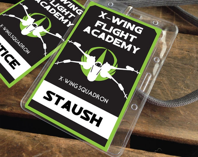 Star Wars X-Wing Flight Academy Badges - Rebellion Badges, Star Wars Party - green | Editable Text - DIY Instant Download PDF Printable