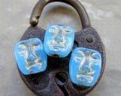 NEW Beachy ISLAND MASKS  . Czech Metallic Glass Beads (8 beads) 13 by 11 mm