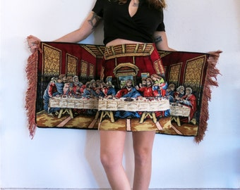 Last Supper Tapestry Skirt / Velvet Christmas Skirt Sz XS S M