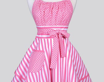 Womens Flirty Chic Apron / Pink Stripes and Polka Dot Cute Vintage Style Pin Up Kitchen Cooking Apron with Pockets