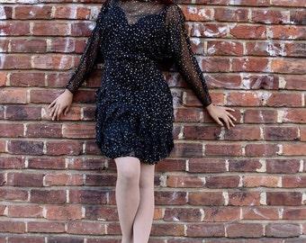 Vintage Polka Dot Ruffle Dress