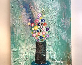 8 x 11.5 inches Flowers Abstract Art Acrylic Painting on wood Ready to hang with hanger Contemporary Mixed Media Modern Paint Wall Original