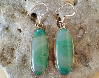 SUPER SALE...Beautiful Mint Green Agate Sterling Silver Dangle Earrings. Mint Green 925 Earrings. Green 925 Earrings. Israel Jewelry
