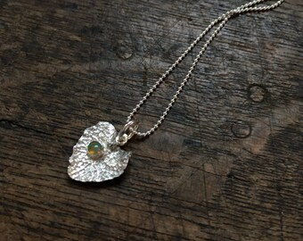 Silver pendant necklace, opal pendant, silver leaf necklace with welo opal, opal jewelry, leaf jewelry, gift for her, October birthstone