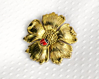 Signed Brooch Freirich Ladybug FLower Pin Vintage 80s Jewelry