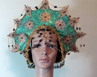Oceanna Sea Goddess Headpiece Halloween Mardi Gras Cosplay Drag Queen Ready To Ship