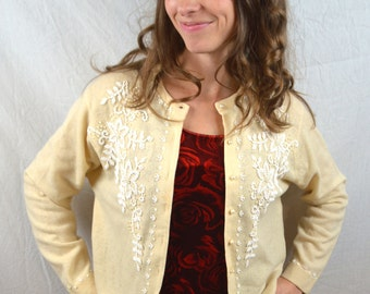 Lovely Vintage 1960s 60s Beaded Cardigan Sweater