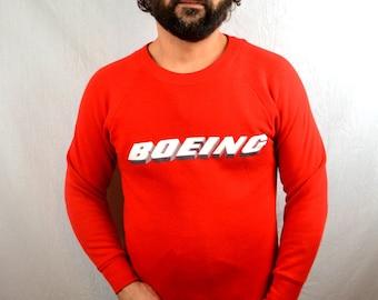 Vintage 80s 90s Red Boeing Airplane Sweatshirt