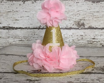 Limited time sale! First Birthday Hat, Birthday Girl outfit, Pink and gold birthday hat, birthday headband. First Birthday Girl