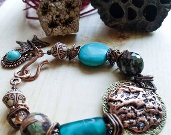 Boho turquoise and copper bracelet, Unique rustic brass bracelet, Butterfly charm bracelet, Statement Piece Southwest Vibrant Bead Bracelet
