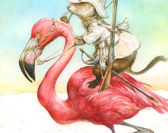 Ferret on Flamingo (print) - bird art - safari - adventure - rider
