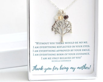 Silver Family Tree Necklace - Mothers Day Gift Ideas - Silver Mothers Necklace - Mom Necklace with Birthstones -Mothers Day Gift for Grandma