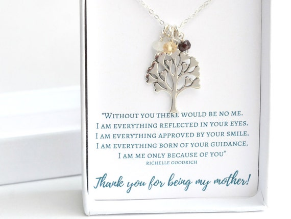 Silver Family Tree Necklace - Christmas Gift for Mom - Silver Mothers Necklace - Mom Necklace with Birthstones - Birthstone Family Necklace