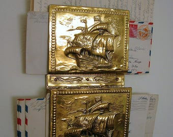 Vintage Brass Look Hanging Letter / Mail Organizer or Holder ~ Nautical Office Decor ~ Christopher Columbus Inspired ~ Maritime Tall Ships