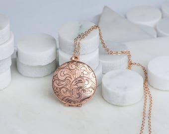 Long Rose Gold Necklace Locket, Floral Rose Gold Locket, Rose Gold Jewelry, Paisley Leaves Pink Jewelry, Rose Gold Wedding Locket