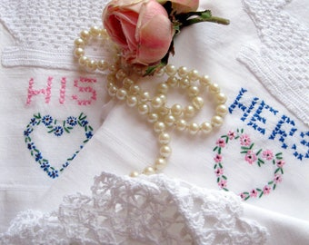 His and Hers Pillowcase Set with Embroidery and Crochet Edge, Antique Personalized Embroidered Pillow Cases, Bedding, by mailordervintage