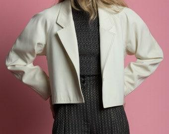 Vintage 80s Fine Wool Cropped Geoffrey Beene Jacket | M