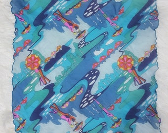 Cool Psychedelic Vintage 70s Blue Sheer Scarf with Lovers in the Rain with Umbrellas