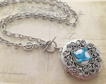 Song Bird Locket Necklace, Blue Bird Jewelry, Photo Locket