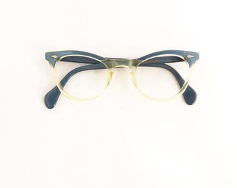 50s 60s American Optical Cat Eye Horn Rimmed Eyeglasses Women's 1950's Blue w Clear Brow Line Frames with Key Hole #M897 DIVINE