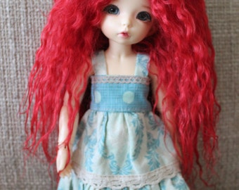 Vivid Red mohair wig for Littlefee / other YoSD sized / Unoa / Enyo doll