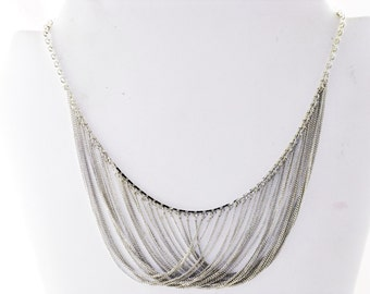 Vintage VCLM Silver Tone Multichain Swag Necklace (N-4-2)