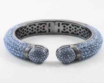Vintage Hematite and Silver Blue Rhinestone Clamper Cuff Bracelet (BR-2-3)